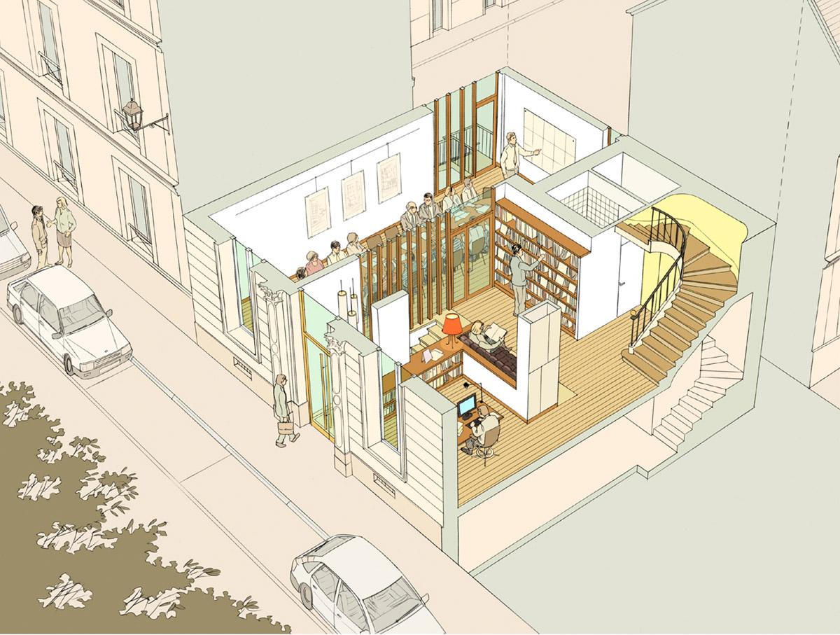Réaménagement des bureaux CAUE 14 - perspective