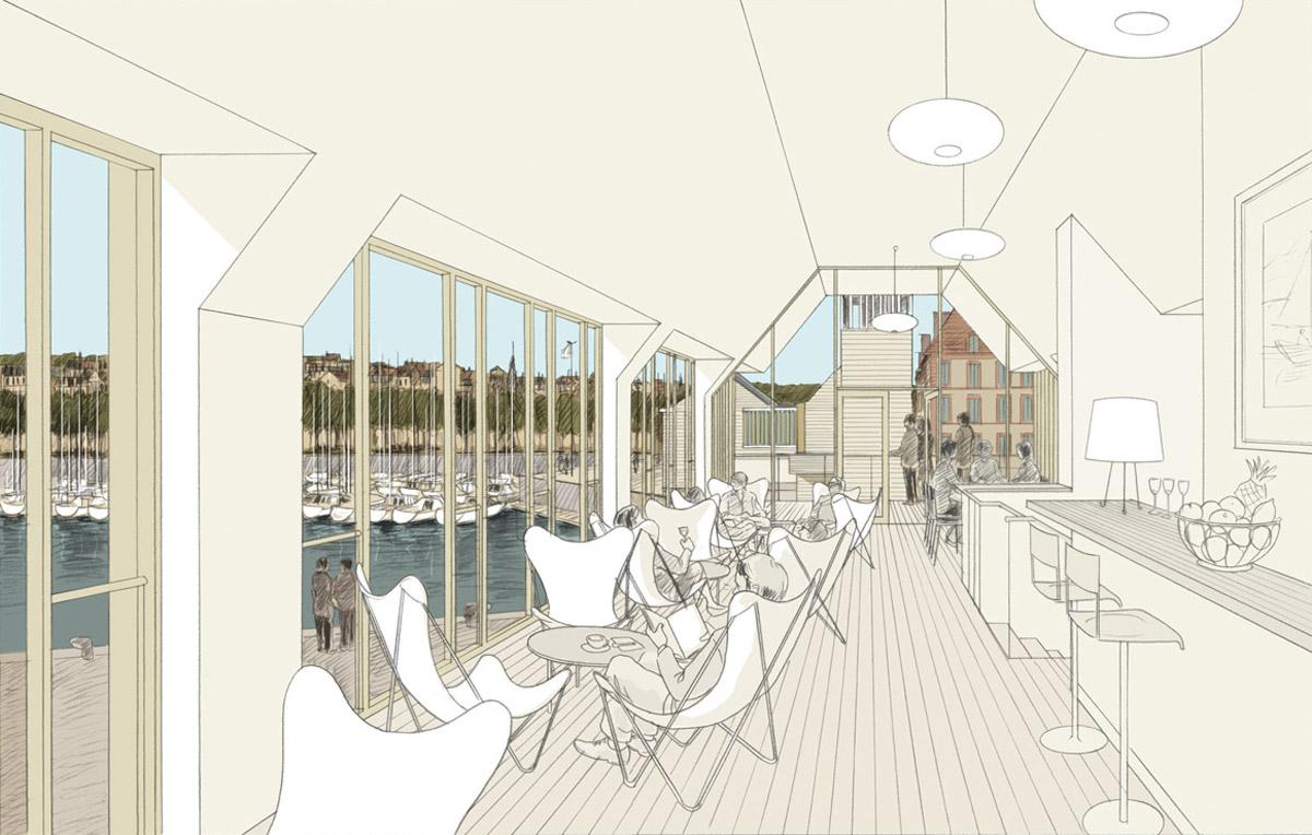 yacht club et bureaux du port à Deauville
