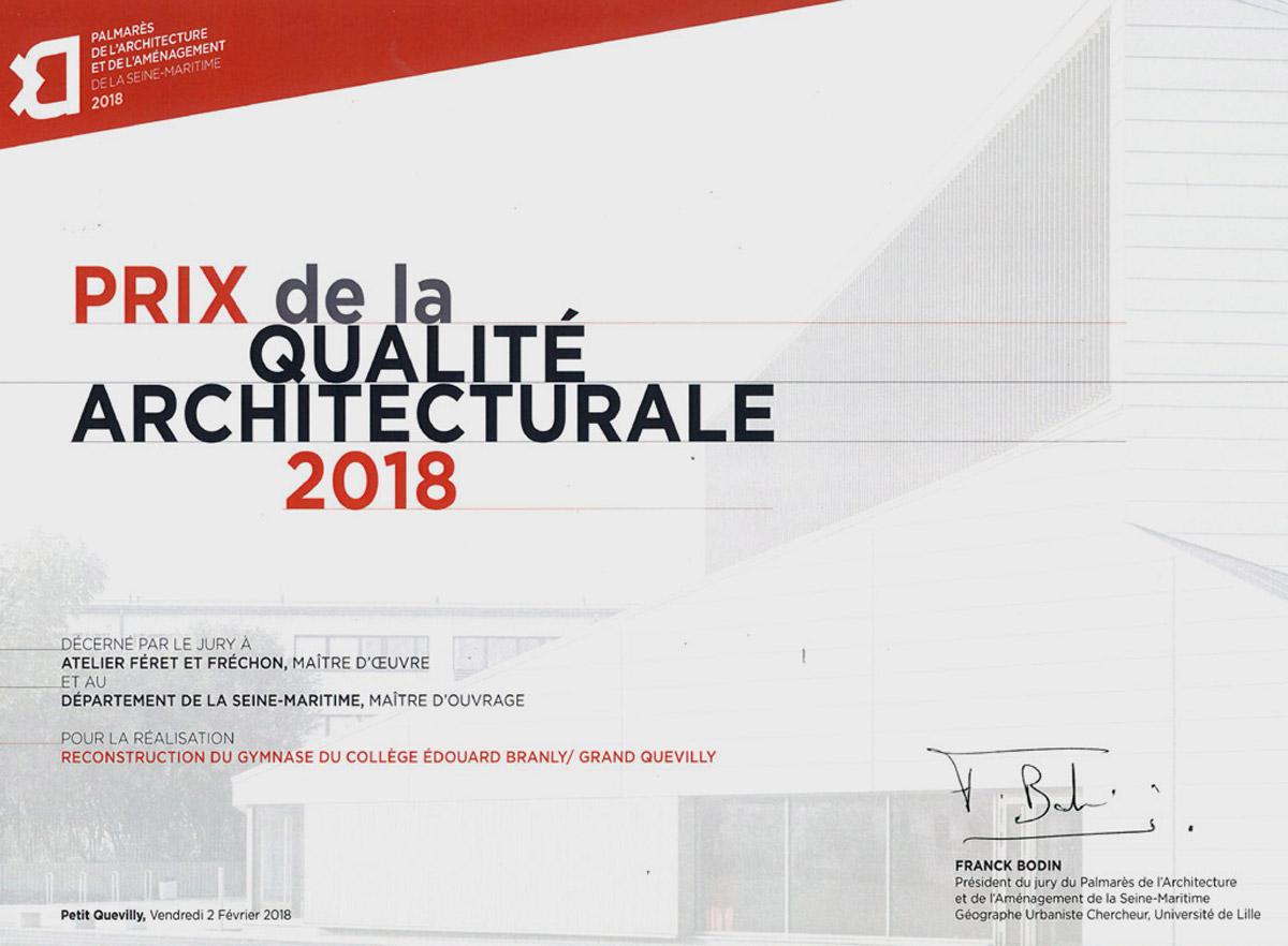 Gymnase Edouard branly Grand Quevilly Prix de la qualité architecturale 2018